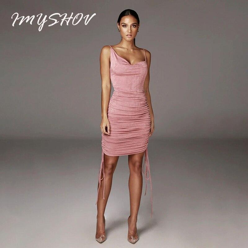 Vestido rosa de verano, vestidos de noche para mujer, ceñido vestido largo, elegante trajes de Club, corto, sin espalda, fruncido para vestidos de noche para mujer