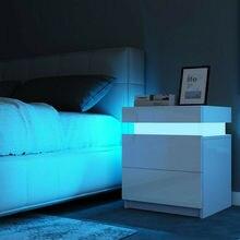 Mesa de noche LED RGB moderna con 2 cajones, organizador, armario de almacenamiento, mesita de noche, muebles de dormitorio para el hogar, mesitas de noche