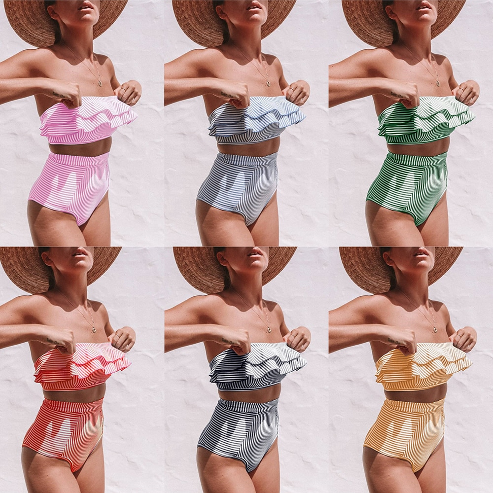 ZTVitality Striped Bikini 2019 New Arrival Strapless Sexy Bikinis High Waist Swimwear Women Ruffles Swimsuit Brazilian Biquini