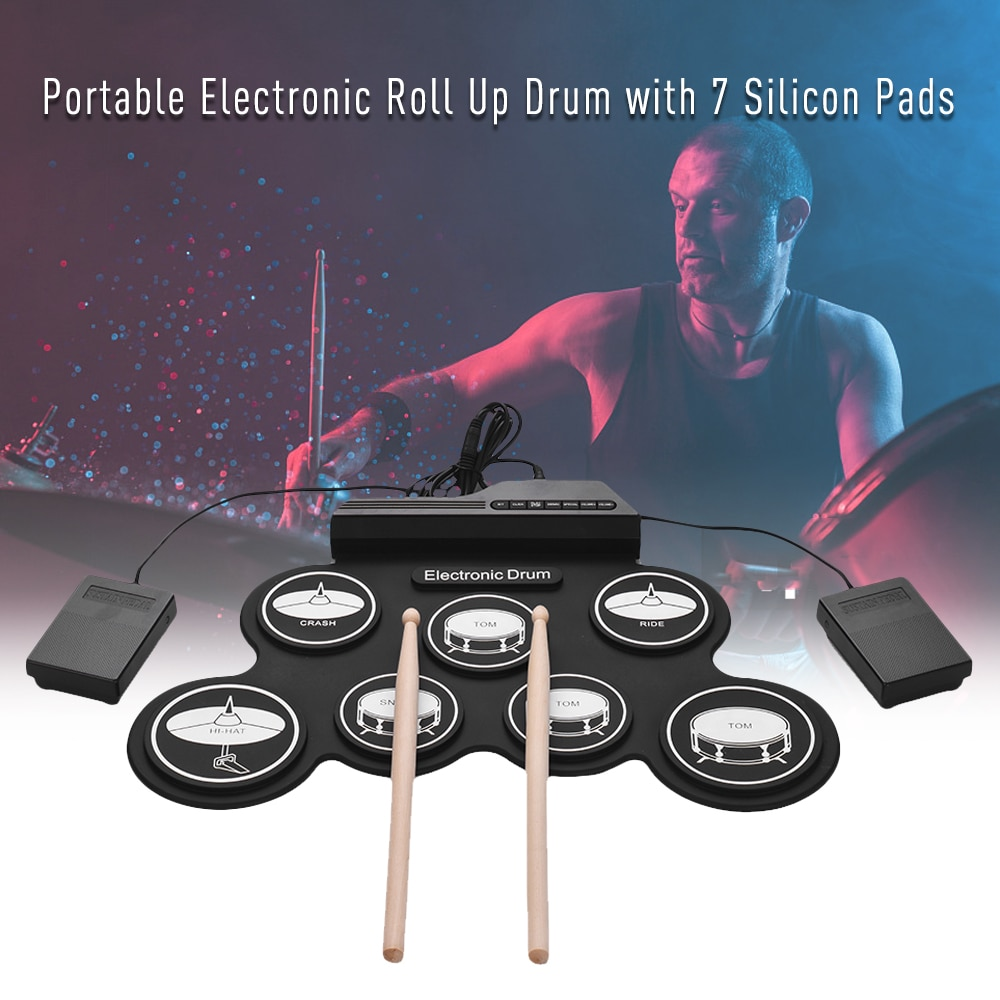 Drum Electronic Drum Set Compact Size USB Roll-Up Silicon Drum Pad Digital Electronic Drum Kit 7-Pad with Drumsticks Foot Pedals enlarge