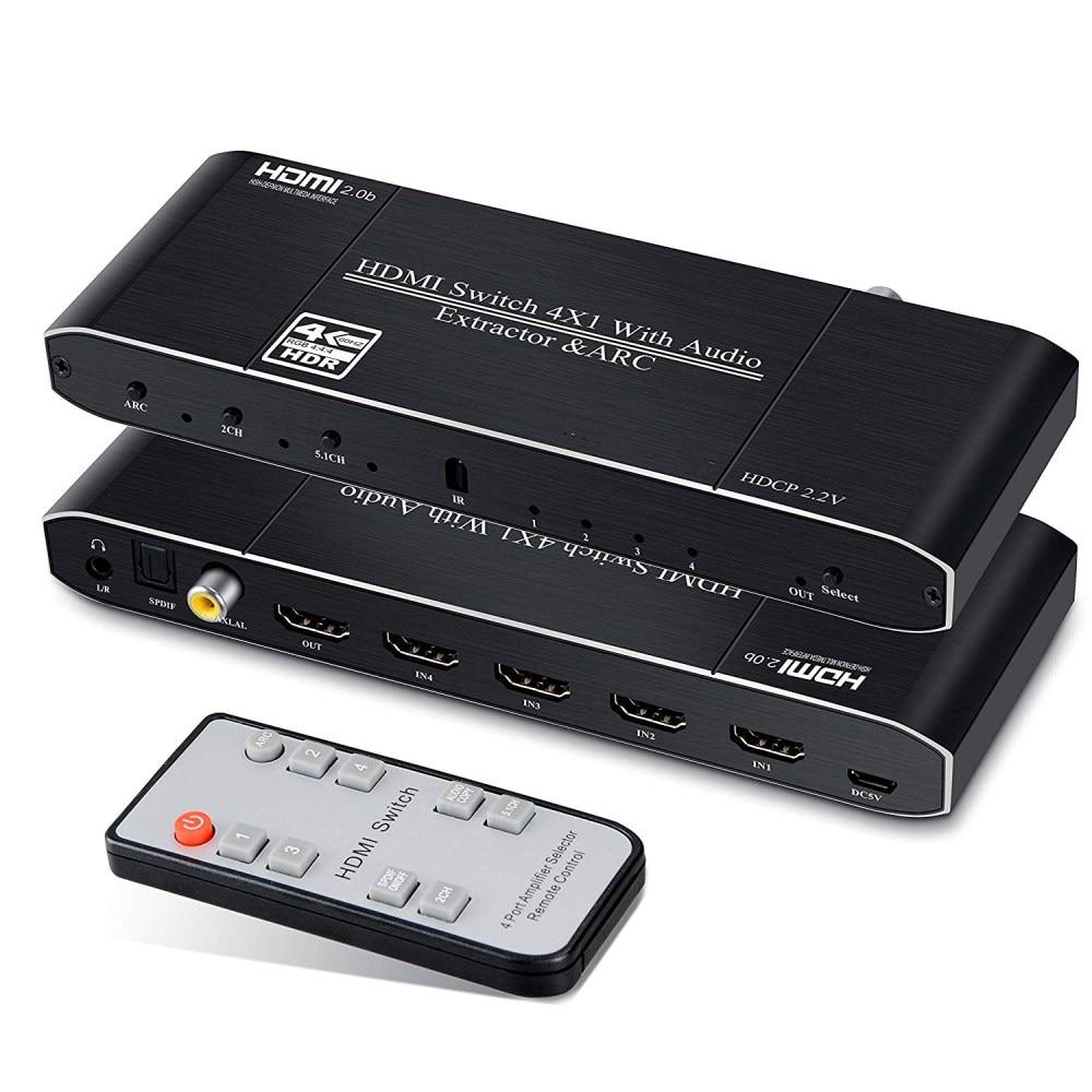 Interruptor HDMI 4x1 con óptica SPDIF/Coaxial/3,5mm L/R Audio Extractor 4K @ 60Hz conmutador HDMI 2.0b HDCP 2,2 arco función