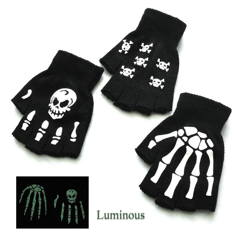Модные перчатки в стиле Хэллоуина, ужасные рукавицы с черепом, рукавицы-скелетоны, новинка, унисекс, зимние теплые перчатки
