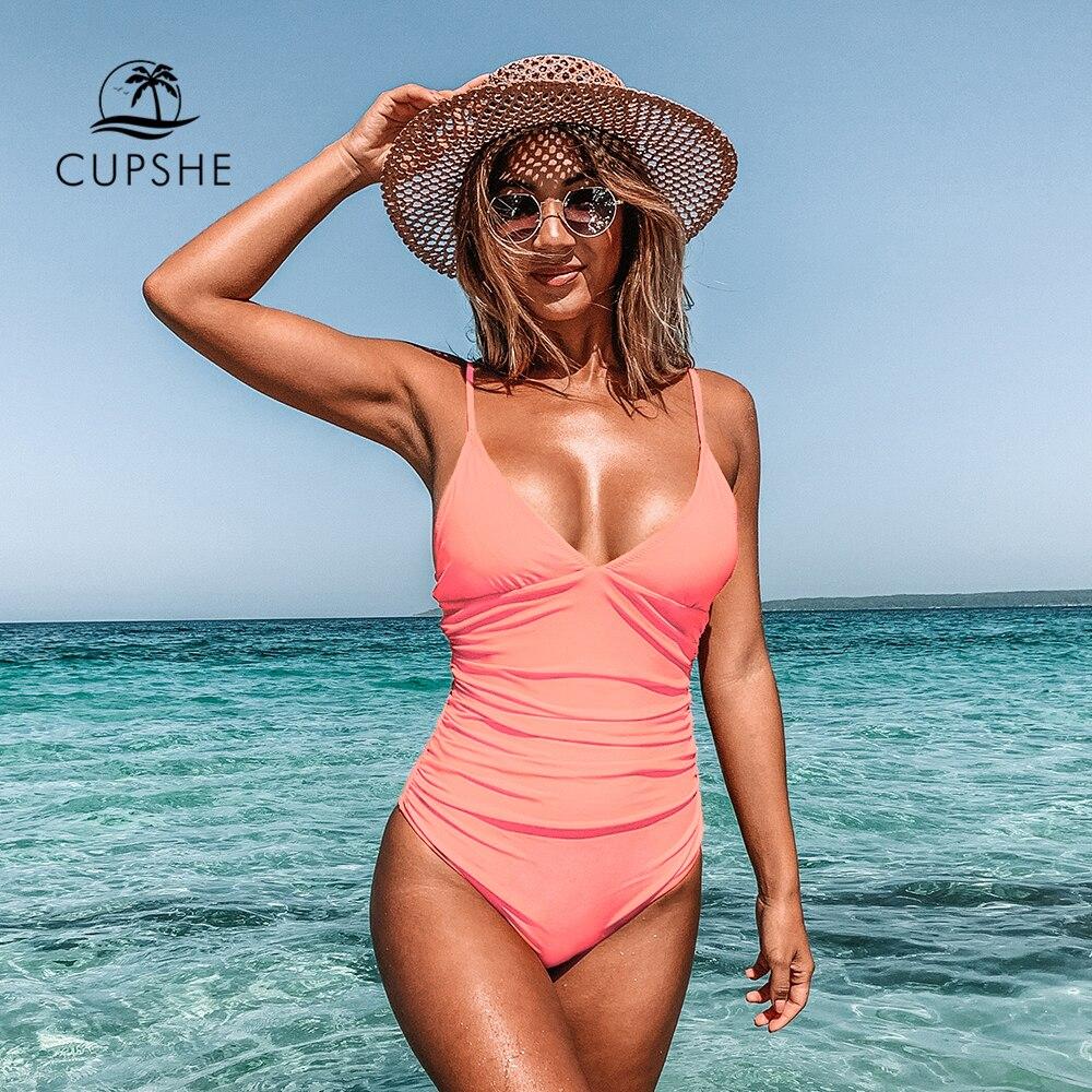 Купальник CUPSHE, слитный купальник с принтом павлина, зеленого цвета, женский, с глубоким треугольным вырезом, съемный бюстгальтер, Одноцветный Монокини, 2020, летняя пляжная одежда, тонкий купальник
