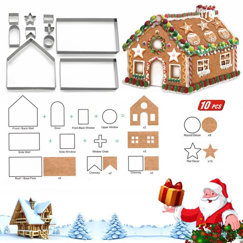 10 шт набор 3D пряничный домик из нержавеющей стали форма для печенья, трехмерные инструменты для приготовления печенья для выпечки еды Рождественский подарок