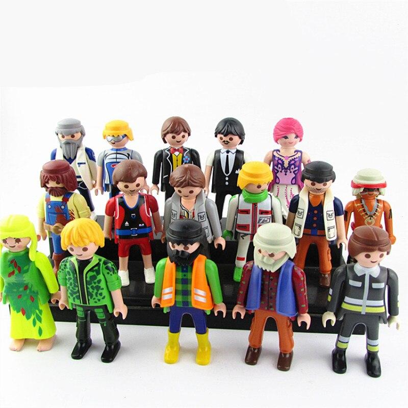 10pcs/lot Playmobil Toy Set 7cm Policemen Clowns Action Figure Playmobil Original Model Kids Gifts Toys for Children RANDOM
