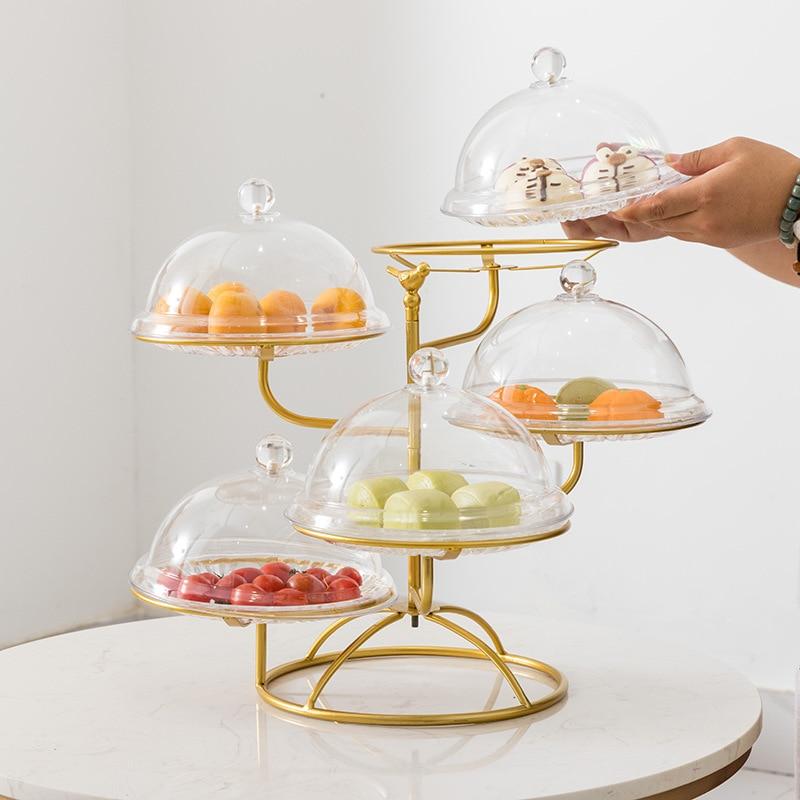Multi-camadas de frutas lanche rack bandeja de bolo para sala de estar cozinha base redonda oco prato suporte de metal prateleira de frutas wy617