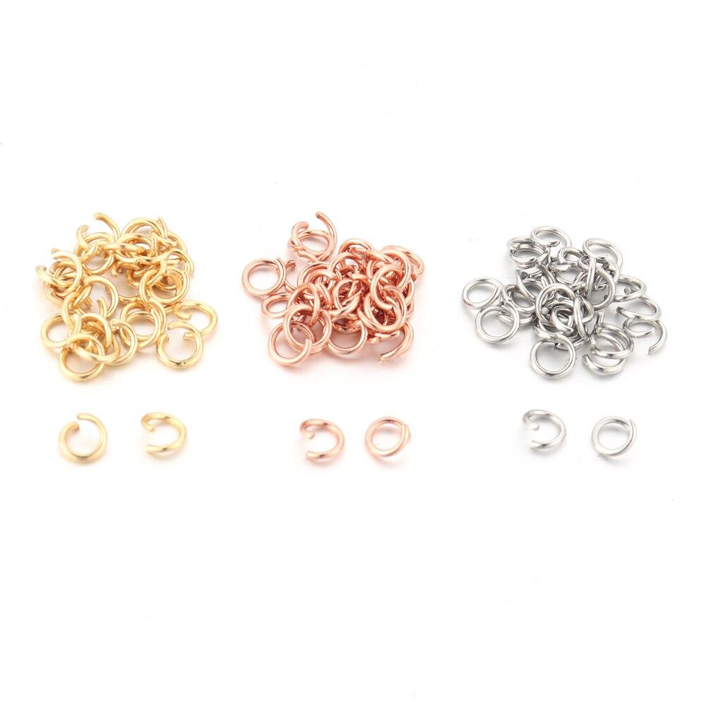 Semitree 100 anéis de pular, de aço inoxidável rosa dourado anéis divididos para fazer jóias colar diy acessórios de artesanato