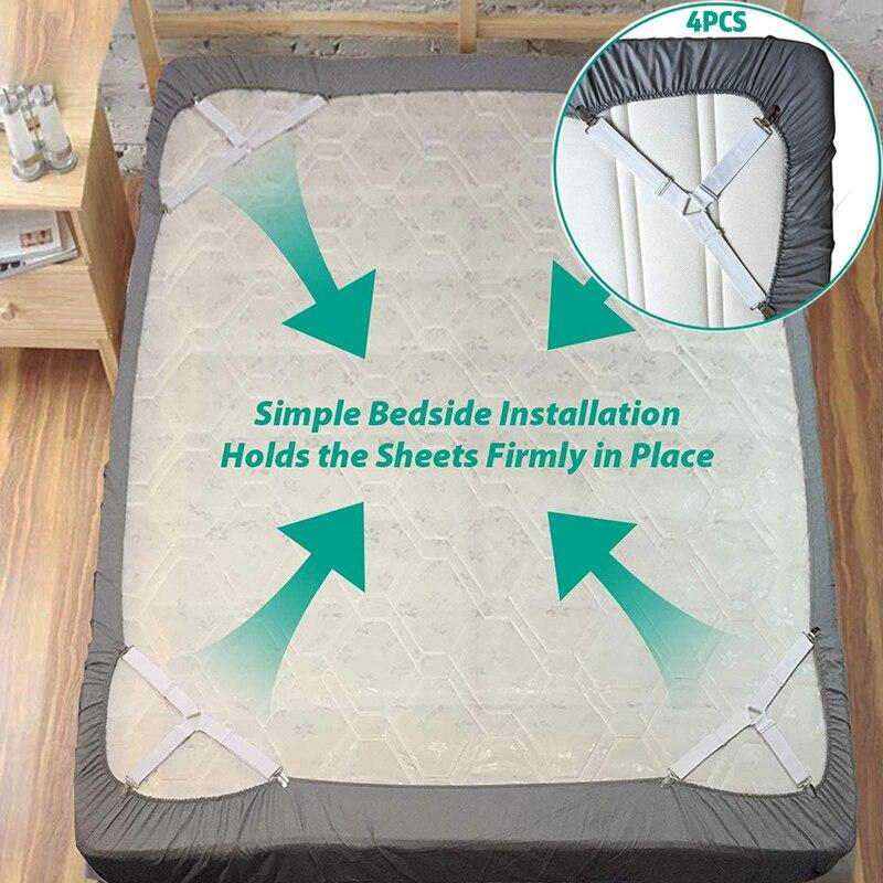 AliExpress - 4PCS/Set Elastic Bed Sheet Grippers Belt Fastener Bed Sheet Clips Mattress Cover Blankets Holder Sofa Fixation Organize Gadgets