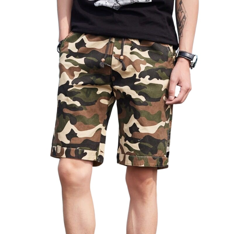 Camouflage shorts men's summer cotton casual with large shorts and overalls loose plus size beach pants Board elastic trousers