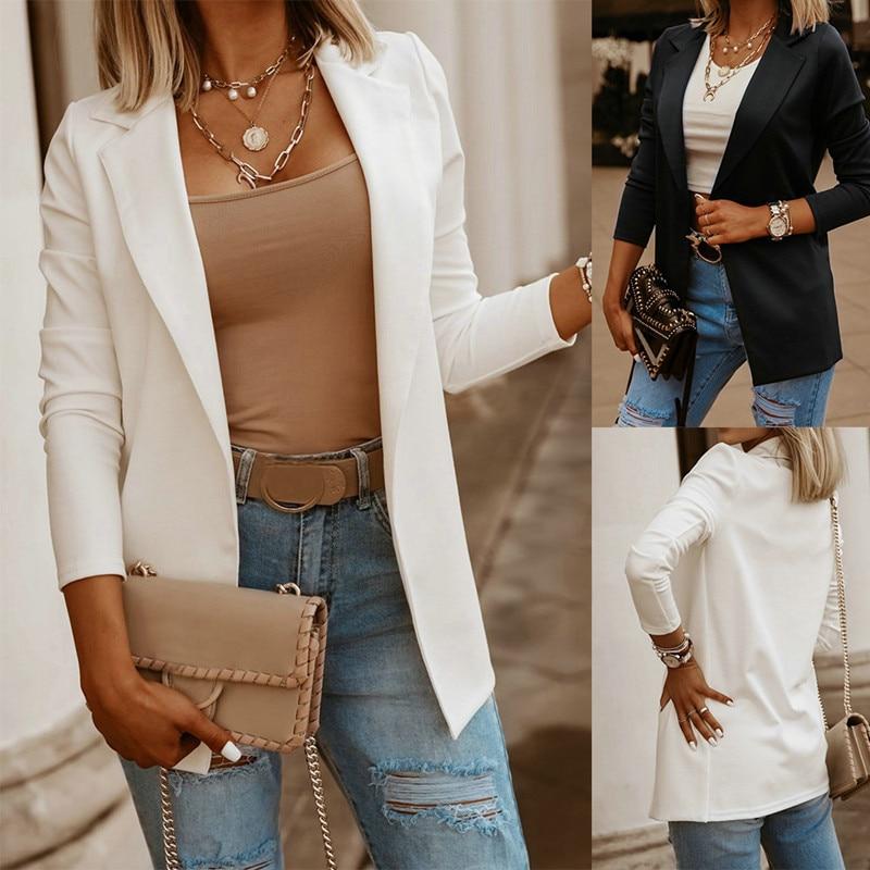 New 2021 Autumn Casual Women  Suit Coat Solid Blazer Office White Tops Jacket Slim Black Blazers Fem