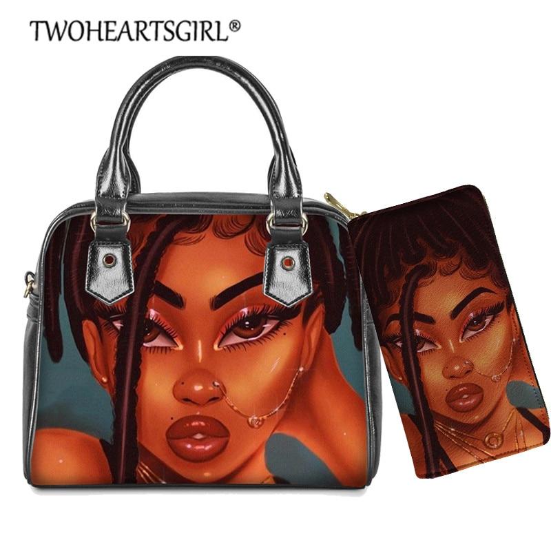Bolsas de Ombro para as Mulheres do Plutônio Bolsa de Couro Twoheartsgirl Africano Preto Menina Conjunto Afro Senhora Crossbody Bolsa Sac um Principal