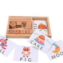 طفل ألعاب تعليمية الخشب كرتون تعلم الإنجليزية ألعاب خشبية الطفل مونتيسوري المواد الرياضيات اللعب المعرفية لغز بطاقات