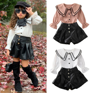 Toddler Kids Baby Girl Autumn Spring Single Breasted Shirt Tassel Tops +Leather Shorts Clothes Outfits Suit