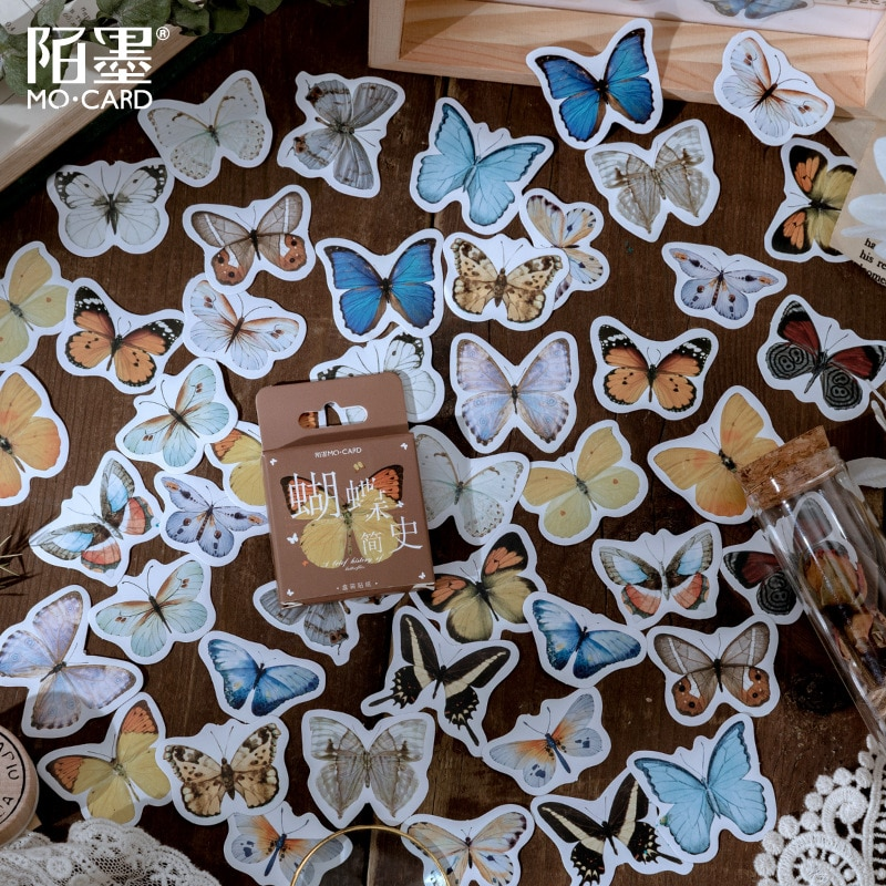 46-pz-pacco-farfalla-storia-mini-carta-adesivo-decorazione-diario-scrapbooking-etichetta-adesiva-cancelleria