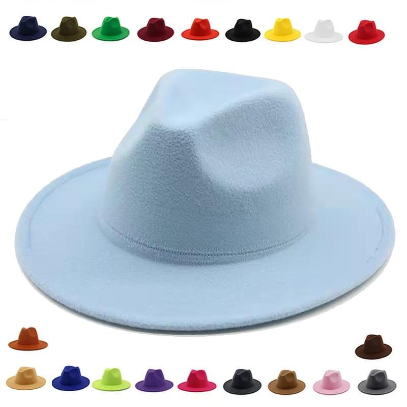 fedora hat women Wide Brim autumn solid formal dress wedding women hats Camel black white fedora fel