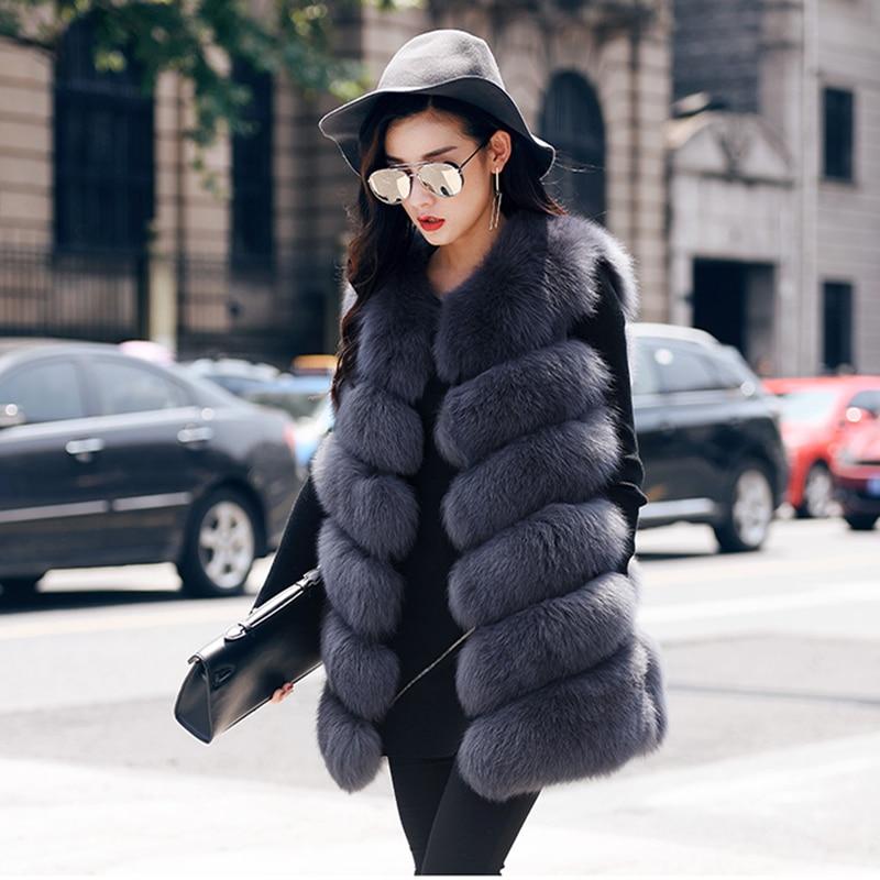 Rf0009b Big Verkauf Natürliche Pelz Weste Gestreiften Stil Klassische Pelz Gilet Echt Fox Pelz Weste Frau