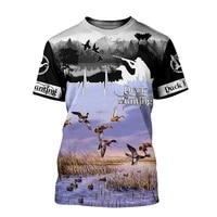 mens top short sleeve beautiful duck hunting and deer 3d printing summer fashion t shirt unisex comfortable short sleeve style