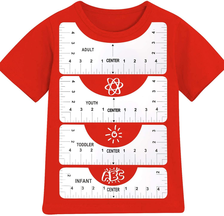 Линейка для выравнивания футболок, 4 шт./компл., для направляющих футболок, измерительная линейка с таблицей размеров, шаблон чертежа «сдела...