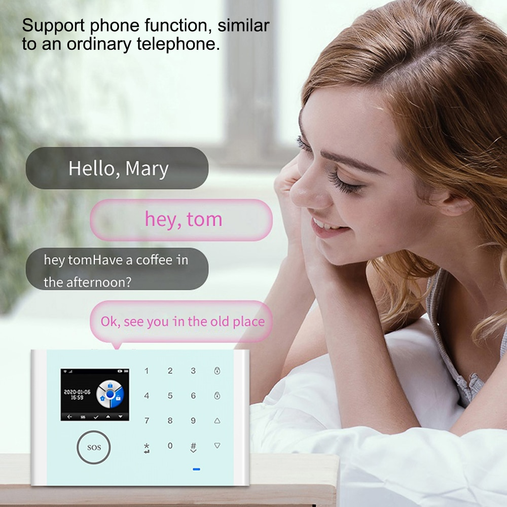 WiFi+GSM+GPRS 3 IN 1 Network Intelligent Home Alarm System Tuya APP Remote Control 433MHz Home Secure Door Alexa Voice Control enlarge