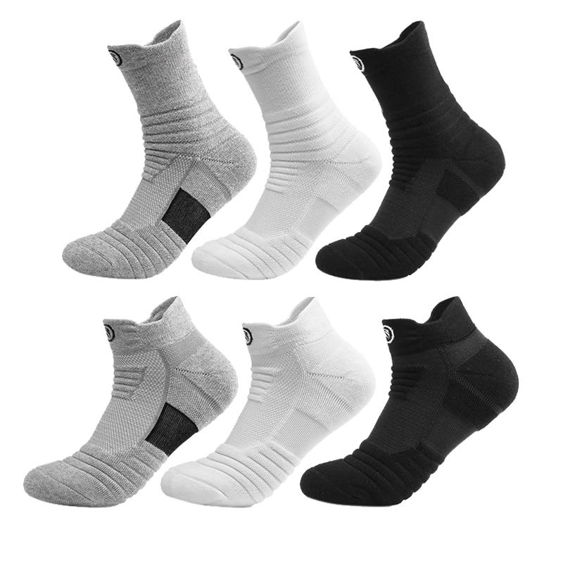 Мужские спортивные дышащие носки для бега, влагоотводящие бесшовные спортивные носки, Длинные Короткие стильные мужские носки с дезодорир...