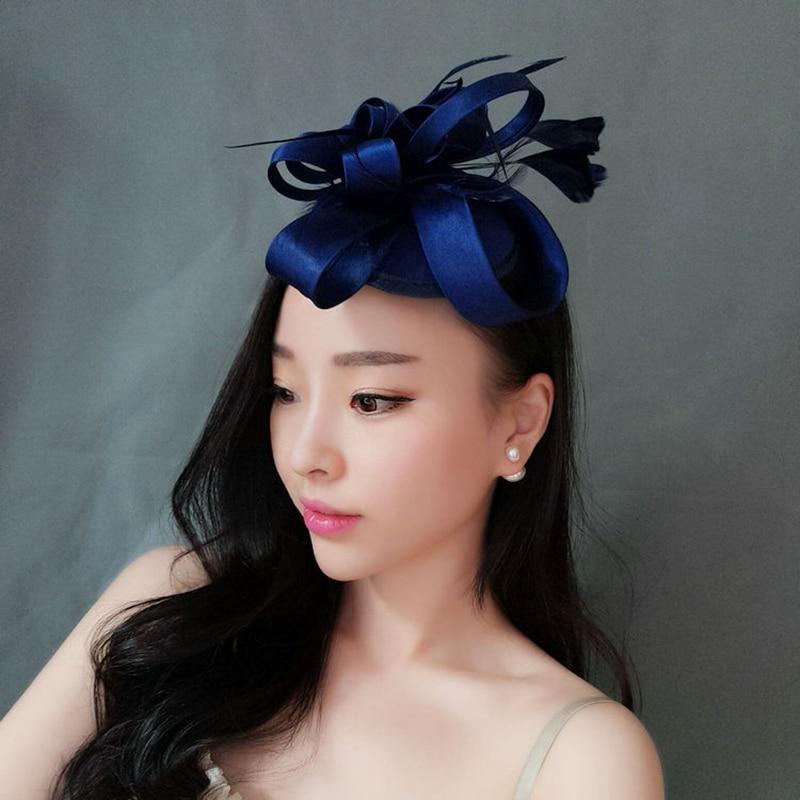 Sombreros de novia, sombrero de boda para novia, tocado azul marino, sombrero de fiesta, accesorios para el cabello fiesta elegante