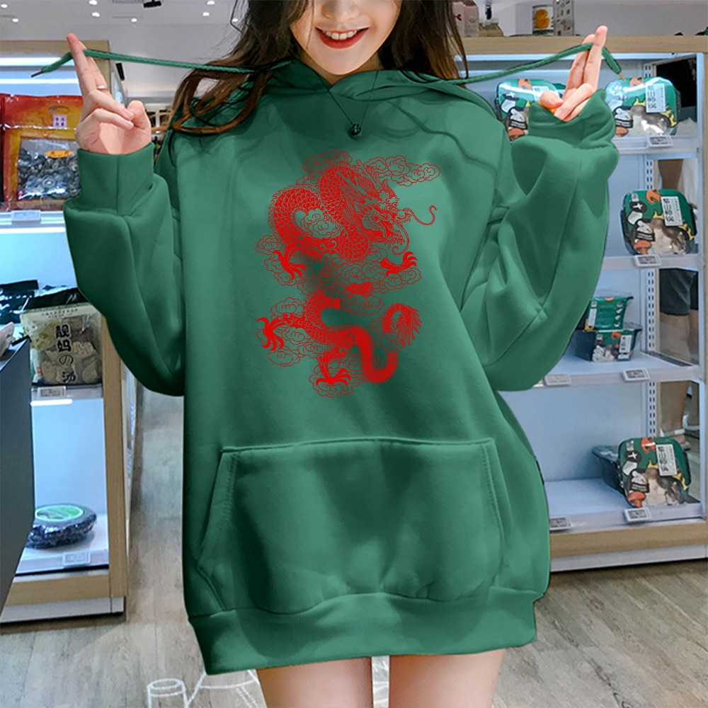 Sudaderas de Mujer con dibujo de dragón Harajuku, ropa de calle de...