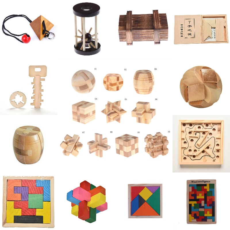 Kong Ming Luban Lock New Design IQ Brain Teaser Kong Ming Lock 3D Wooden Interlocking Burr Puzzles Game Toy For Adults Kids