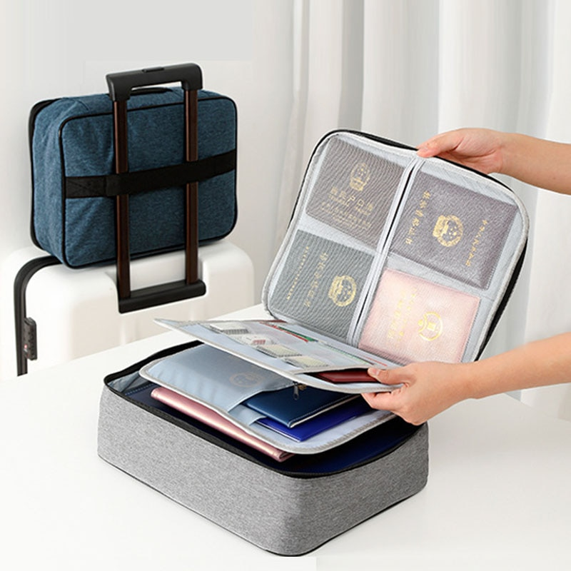 Quality Multilayer Document Ticket Bags Waterproof Business Files Organizer Large Capacity Home Travel Zipper Storage Holder Bag