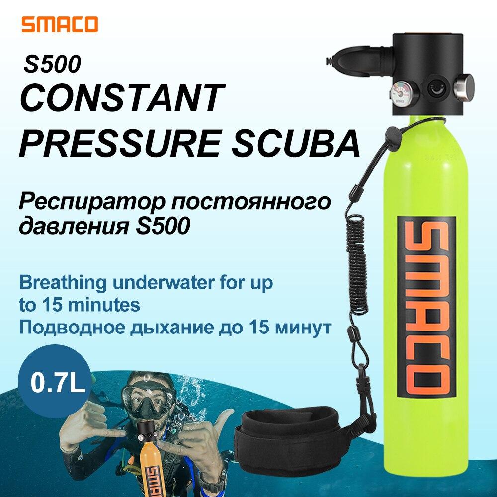 Para SMACO presión constante Mini cilindro de buceo tanque de oxígeno Válvula de interruptor de aire portátil tanque 0.7L bajo el agua 15 minutos