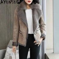 ayunsue double faced fur coat female natural wool fur coats winter jacket women fox fur collar genuine leather jacket my4081