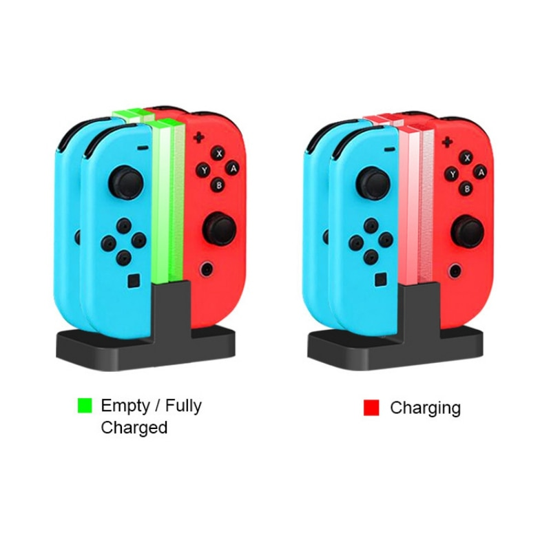 Mini Portable LED Charging Dock Station Charger Cradle For Nintendo Switch 4 Joy Con Controllers 4 In 1 indoor Charging Stand