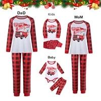 trendy christmas pajamas set for family long sleeve pants suit home sets merry christmas letters prints patchwork pajamas