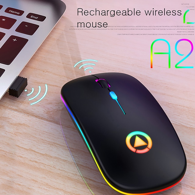 Ultra-thin LED Colorful Lights Rechargeable Mouse Mini Wireless Mute USB Optical Ergonomic Gaming Mouse Notebook Computer Mouse