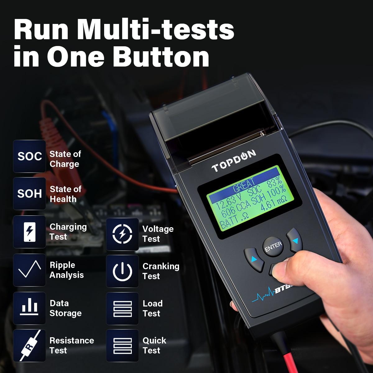 TOPDON BT500P Car Battery Tester with Printer 12V 24V Load Tester, enlarge