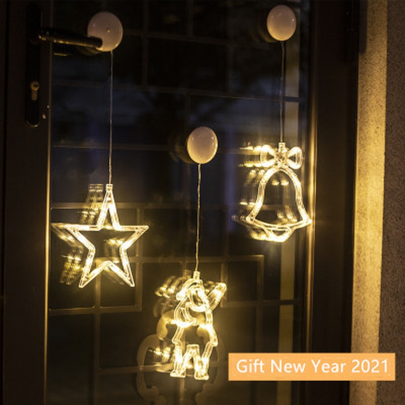 LED Christmas Hanging Curtain Lights String Net Xmas Home Party Home Decor Christmas Ornament 2020 X