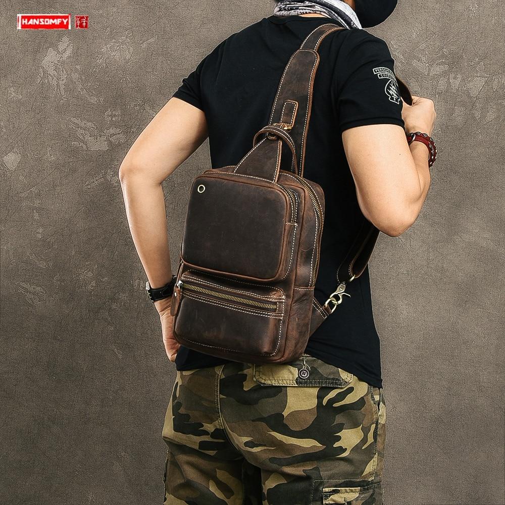 Chest Bag Messenger Bag Multi-pocket Back Pack Vintage Handmade Men's Crazy Horse Leather Top Layer Leather Soft Men Retro