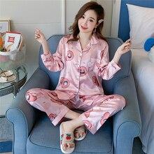 Pijamas femininos para outono, pijamas para mulheres, manga longa, decote em v, seda, conjunto de roupas de dormir, nova linha 2019