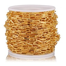 1 Meter Copper Clad Iron 4mmx10mm Gold Flat Drawn Cable Chain for DIY Square Jewelry Chains Accessor