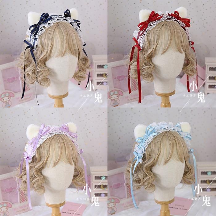 Astrologia gato japonês doce lolita macio irmã arco laço branco pelúcia gato orelha hairband rosa céu azul sax cor headbands