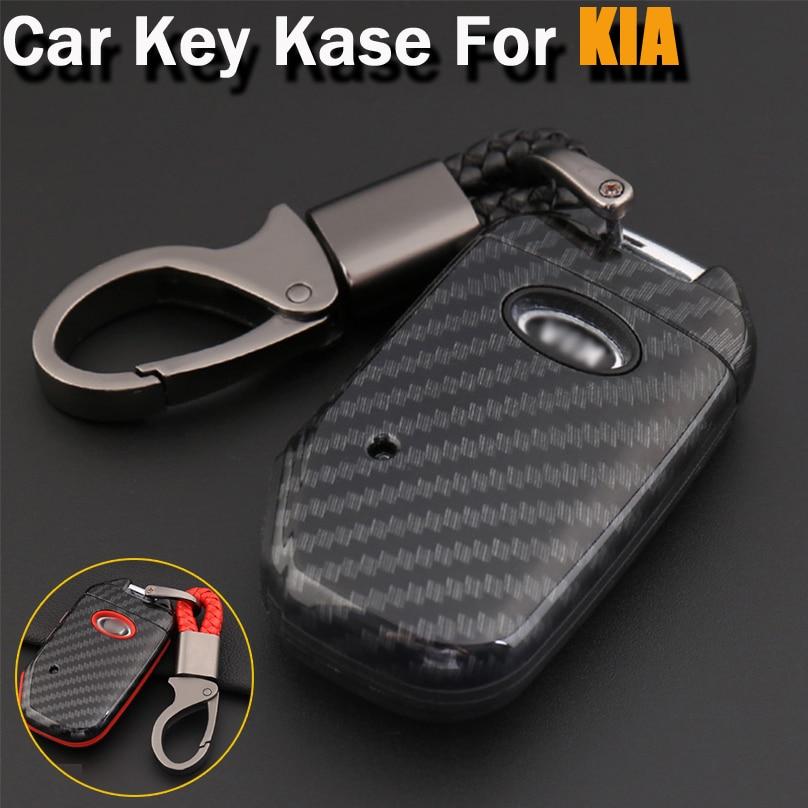 Carbon Fiber Style ABS Shell+Silicone Cover Remote Key Holder Fob Case&KeyChain For Kia Sportage R 2018 K2 K3 K4 K5 KX3 KX5 KX7
