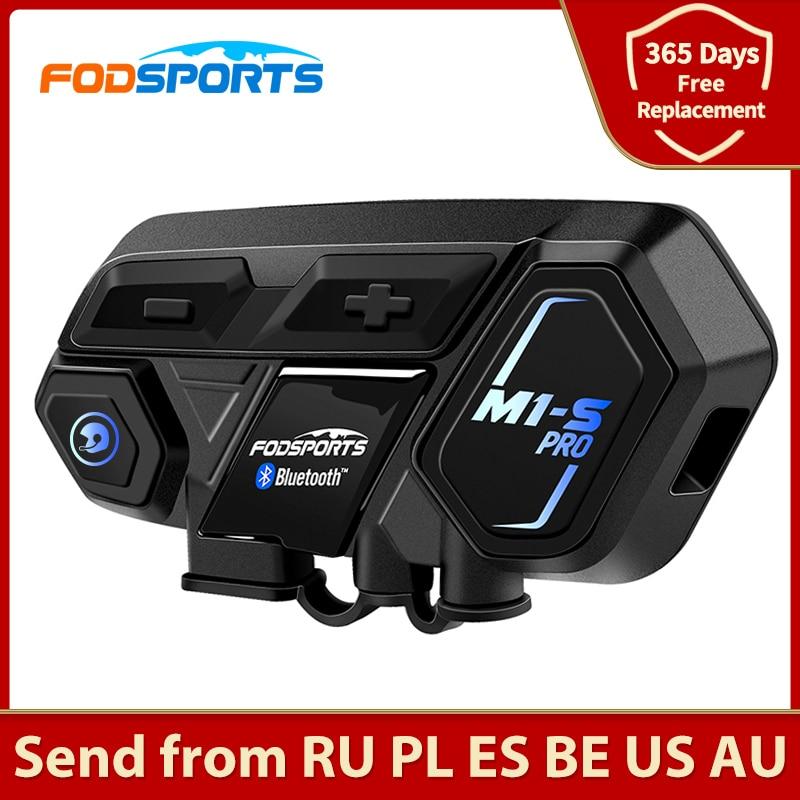 Fodsports M1-S برو للدراجات النارية خوذة بلوتوث سماعة رأس لجهاز الاتصال الداخلي 8 الدراجين 2000 متر مجموعة BT البيني الحد من الضوضاء صوت موجه