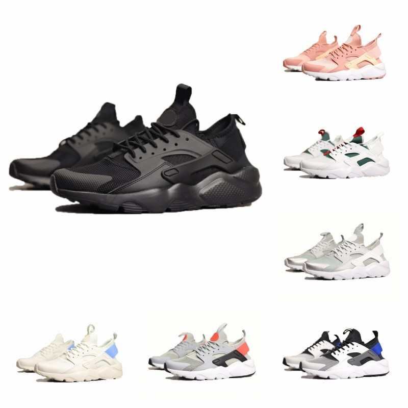 Gran oferta de zapatillas para correr 4,0 blanco negro gris hombres mujeres zapatos Triple Huaraches hombres zapatillas deportivas 36-45