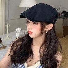 Black Anti-Wear Duckbill Forward Hat Female Spring Summer Japanese British Retro Minority Beret Sun-