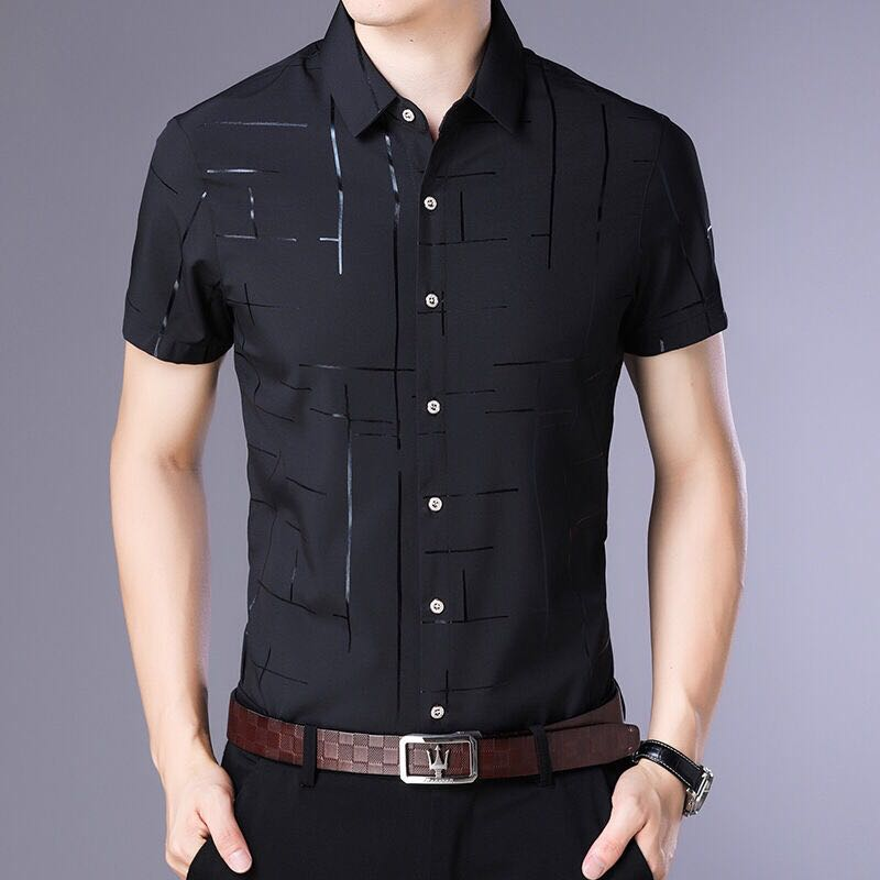Мужская рубашка с коротким рукавом, летняя крутая рубашка, Мужская одежда, деловые повседневные рубашки