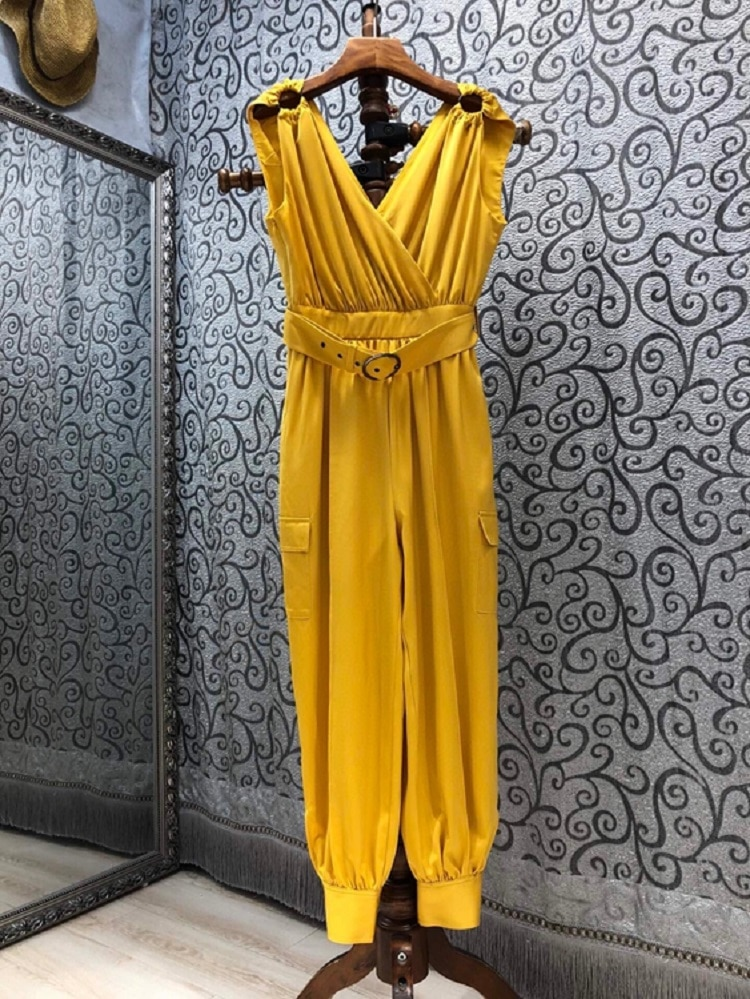2021 Summer Fashion Jumpsuits High Quality Silk Women Sexy V-Neck Belt Deco Sleeveless Pleated Casual Silk Jumpsuit & Rompers
