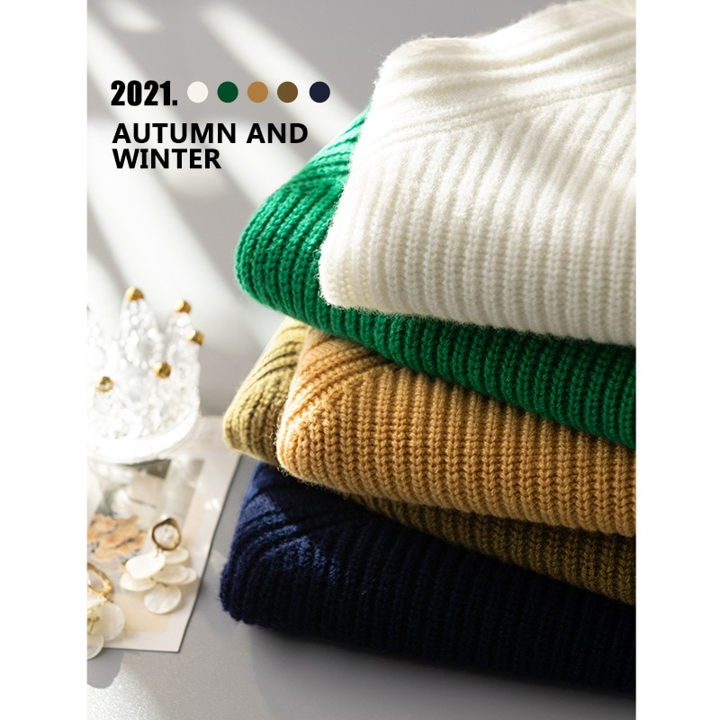 Shuchan Wool Knit Sweater Pullover Autumn Winter New 2021 England Style  V-Neck  Thick  Fashion Sweater Green Loose-fitting enlarge