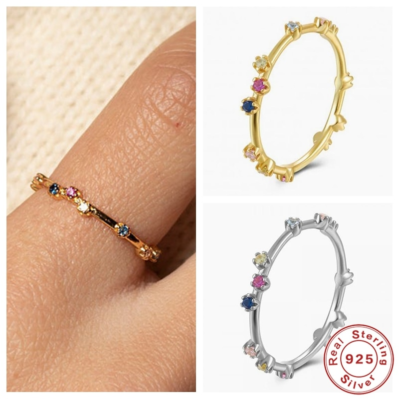 KOJ Minimalist 925 Sterling Silver Gold Luxury Slim Circle Shiny Rainbow Crystal Zircon Rings for Women Fine Jewelry Accessories