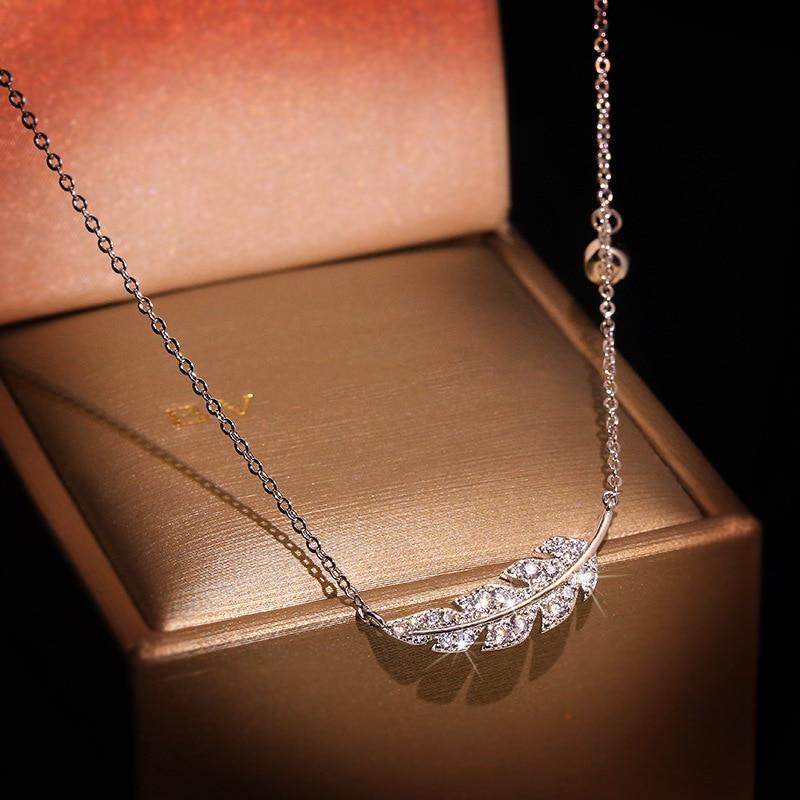 Collar de cadena con colgantes de plata de ley 925 con forma de pluma para fiesta de boda para mujer