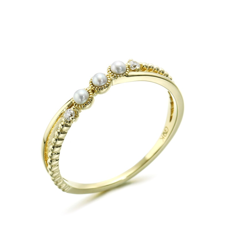 Barroca 9K puro oro amarillo Real anillos de perlas de agua dulce para mujeres chica Retro genuino sólido cristal bandas joyería fina de compromiso