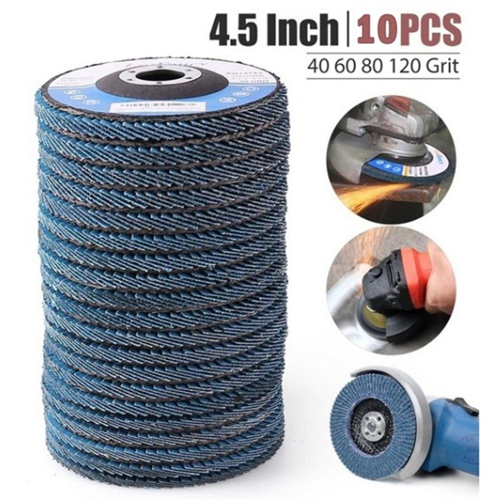 10 vnt profesionalūs atvartiniai diskai 115 mm 4,5 šlifavimo diskai 40/60/80/120 šlifavimo diskų peiliai kampiniam šlifuokliui